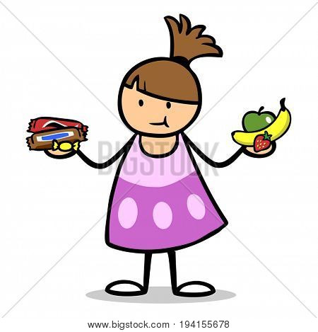 Child holding healthy and unhealthy food as a decision making concept