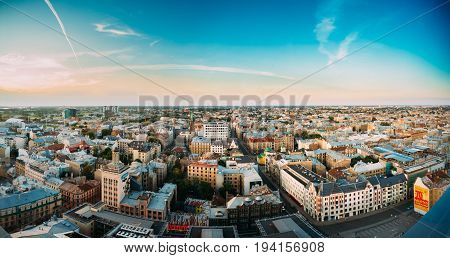 Riga Latvia - July 2, 2016: Riga Panoramic Cityscape. Top Aerial View Of Baznicas Street And Crossroads Of Freedom Street And Dzirnavu Street In Sunny Summer Evening.