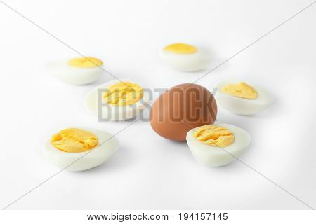 Hard boiled eggs on white background. Nutrition concept