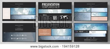The black colored minimalistic vector illustration of the editable layout of high definition presentation slides design templates. Scientific medical DNA research. Science or medical concept