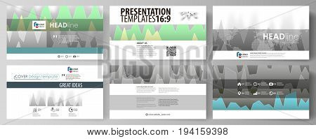The minimalistic abstract vector illustration of the editable layout of high definition presentation slides design business templates. Rows of colored diagram with peaks of different height