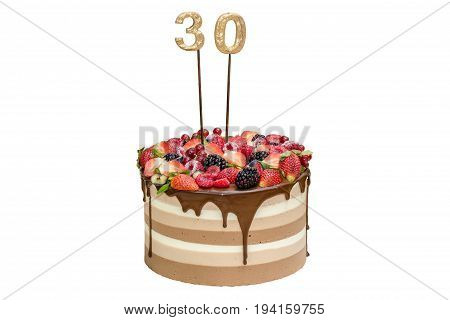 Naked three chocolate cake with fruits and figures 30 isolated on white background
