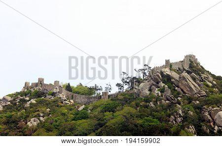 Sintra, Portugal - April 30, 2014: Moors Castle landscape near Sintra