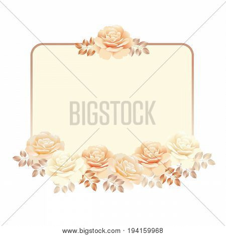 floral frame for invitation template. pearl color yellow rose vector illustration