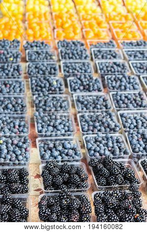 Blackberries, blueberries, orange cherry tomatoes, and yellow cherry tomatoes at the farmer's market during summer