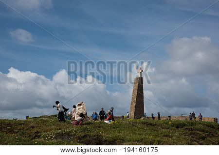 Tourists Taking Pictures At Cabo Da Roca