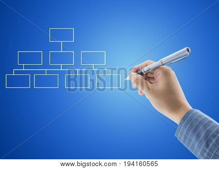 Hand Drawing An Organization Chart On Blue Background