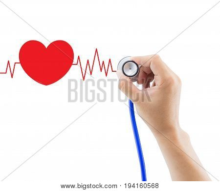 Medical hand holding stethoscope for diagnose heart graph pulse isolated on white background