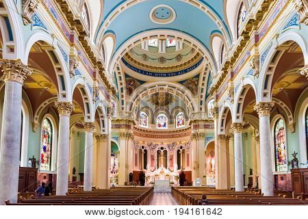 Harrisburg USA - May 24 2017: Inside Saint Patrick cathedral church with colorful decorations in Pennsylvania capitol city