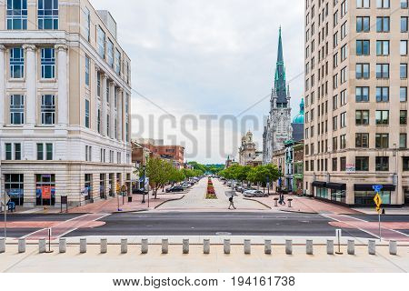 Harrisburg USA - May 24 2017: Pennsylvania capital city exterior cityscape or skyline by capitol with famous church and street
