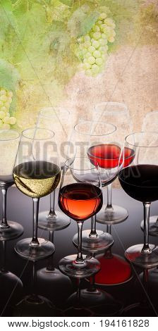 Wine tasting in wine yard, set of glasses with red, white and rose wine close up, grapevine in background