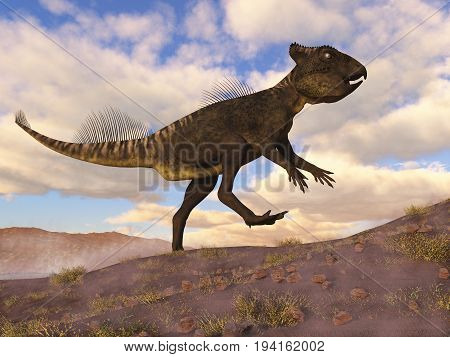 Archaeoceratops dinosaur walking in the desert by day - 3D render