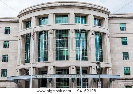 Harrisburg USA - May 24 2017: Pennsylvania judicial center building in capital city exterior