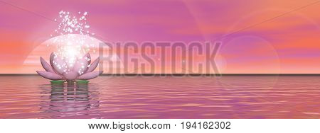 Pink lily flower with lots of stars upon water by sunset - 3D render
