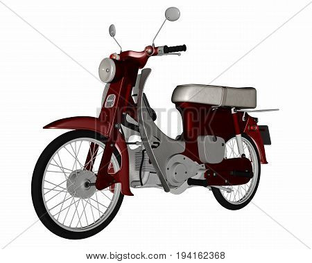 Moped, scooter isolated in white background - 3D render