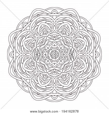 Mandala. Vintage hand drawn decorative vector illustration. round lace design. Ethnic tribal Oriental arabic Indian motif. Pattern for zentangle, coloring book, zendoodle.