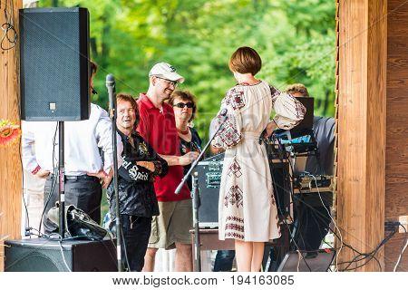 Silver Spring USA - September 17 2016: People including virtuoso Vasyl Popadiuk at 14th Washington Ukrainian festival near Washington DC at St. Andrew Ukrainian orthodox cathedral