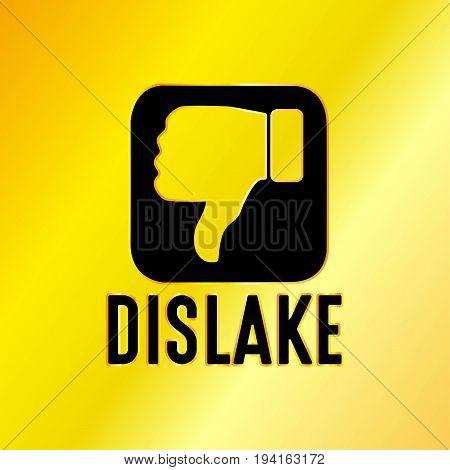 Dislike Emblem with Golden Background Vector Illustration