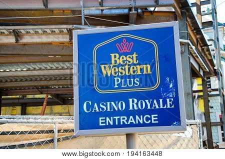 Las Vegas USA - May 7 2014: Best Western Hotel building sign exterior in Nevada with Casino Royale entrance