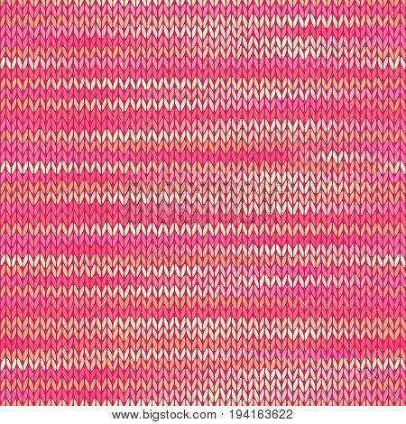 Seamless Knitted Melange Pattern. Pink Yellow Color Vector Illustration