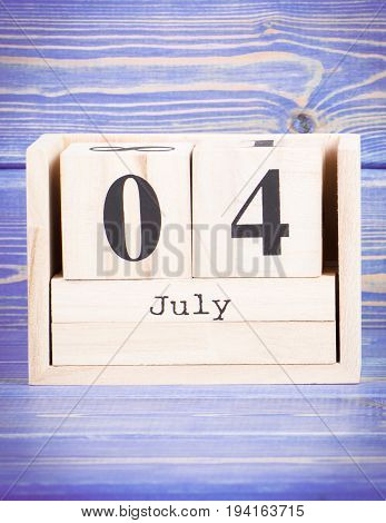 July 4Th. Date Of 4 July On Wooden Cube Calendar