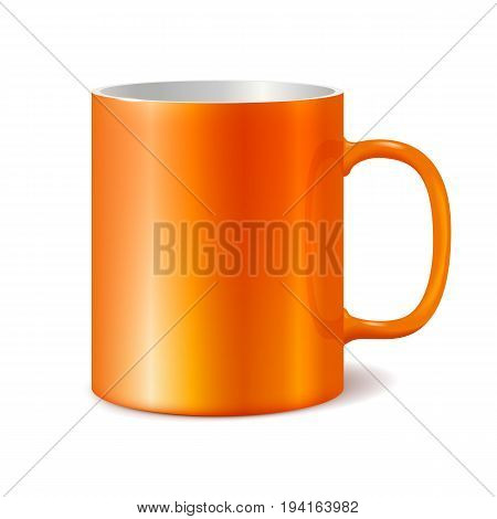 Orange cup isolated on white background. Blank cup for branding. Photorealistic vector template.