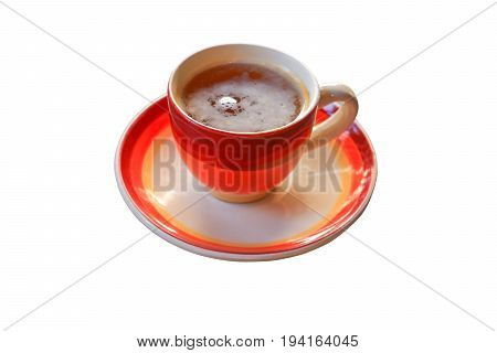 coffee cup in striped red over white background