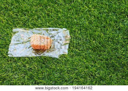 sprinkled sesame seeds bar on pastry wheat flour. candy sweets thailand ancient in artificial grass background
