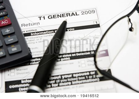 Filling in canadian individual tax form T1 for year 2009 poster