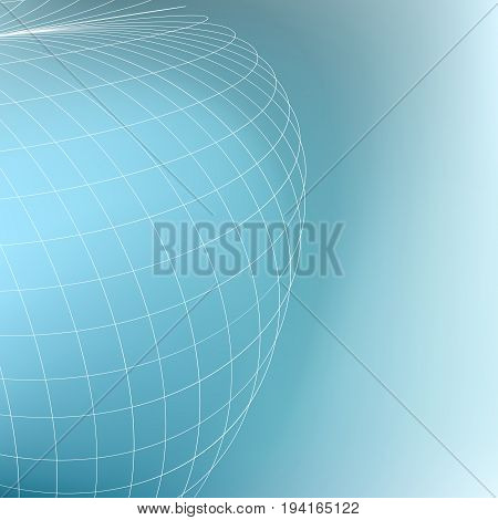 Abstract geometric globe background. Curves diverging fine lines in perspective. Modern technology