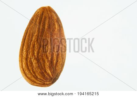 Almond seed (Prunus dulcis) isolated on white background