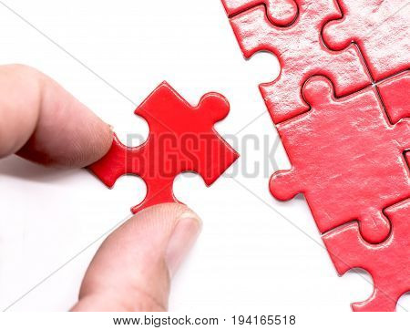 puzzle and jigsaw and success game and business concept