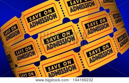 Save on Admission Discount Tickets Low Prices 3d Illustration
