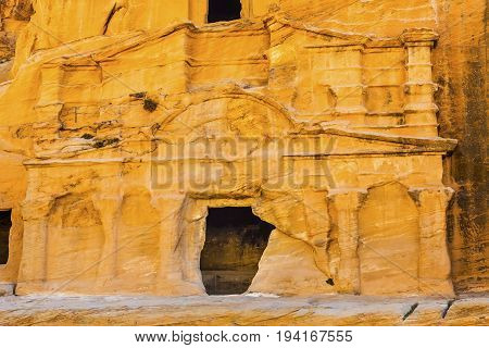 Yellow Obelisk Tomb Bab el-siq Triclinium Outer Siq Canyon Hiking To Entrance Into Petra Jordan Petra Jordan. In front of entrance to Petra.