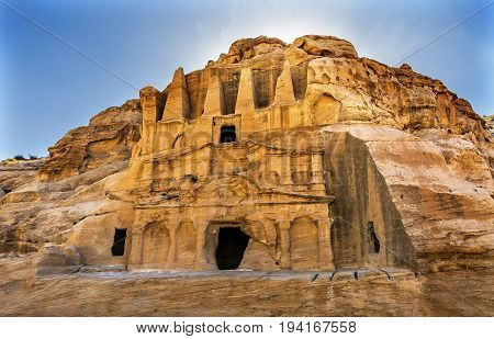 Yellow Obelisk Tomb Bab el-siq Triclinium Outer Siq Canyon Hiking To Entrance Into Petra Jordan Petra Jordan. In front of entrance to Petra. Style from Egypt.