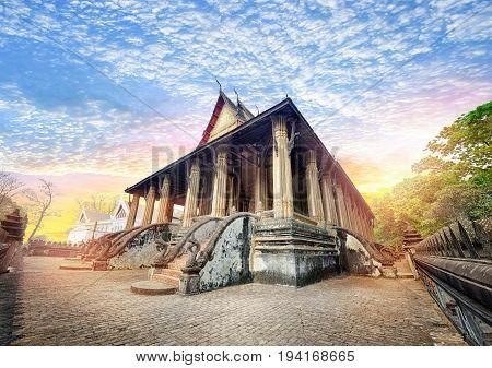 Laos travel landmark Hor Phakeo (Haw Pha Kaew) Museum in Vientiane Religious architecture and landmarks Famous tourist destination in Asia.