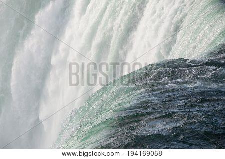 Niagara Falls Canadian Horseshoe Fall close-up. Natural landmark Ontario Canada