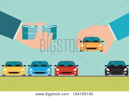 Buying new car conceptual Hand holding car and money Rental or sale for car Sell automobileFlat style vector illustration.