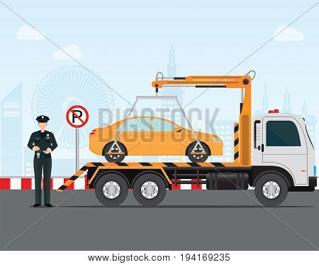 Traffic policeman writing a parking ticket to car in no parking area and tow away no parking sign vector illustration .