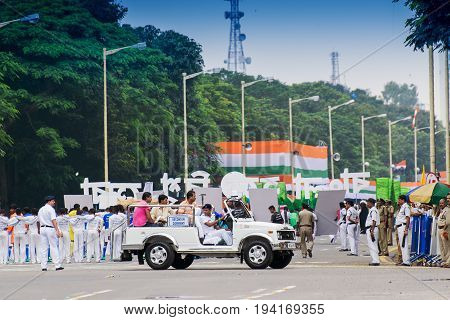 KOLKATA WEST BENGAL / INDIA - AUGUST 15TH 2016 : India's Independence day celebration rally. The day in celebrtated all over India with joy.