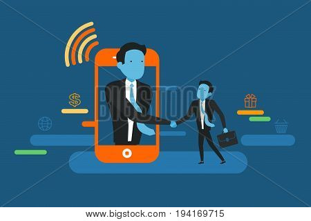 Deal on Mobile phone. Handshake of two business people with cell phone background. On line deal. Business concept illustration