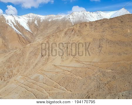 Zig Zag Road in the Mountain on the way to Pangong lake Leh Ladakh Jammu and Kashmir India