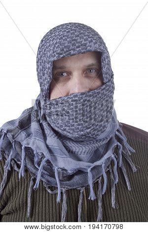 Portrait of an adult Arab male in a cafta