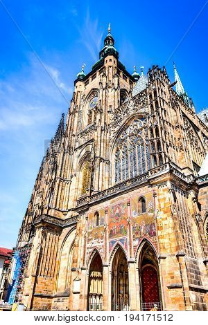 Prague Czech Republic. Saint Vitus Cathedral in Hrad (Prague Castle district) Bohemia specific architecture.