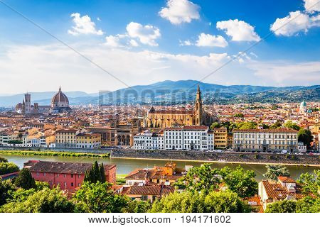 Florence Tuscany - Sunset view of Duomo Santa Maria del Fiori and Santa Croce Renaissance architecture in Italy.