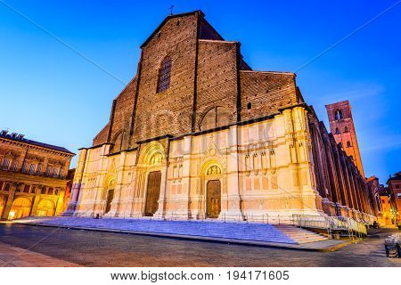 Bologna Italy - The Basilica of San Petronio is the main church of Bologna Emilia Romagna northern Italy.