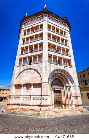 Parma Italy - Piazza del Duomo with the the Baptistery built in 1059. Romanesque architecture in Emilia-Romagna.