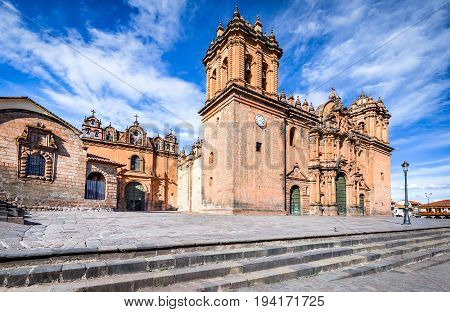 Cusco Peru - Plaza de Armas and Catedral del Cuzco. Andes Mountains South America.