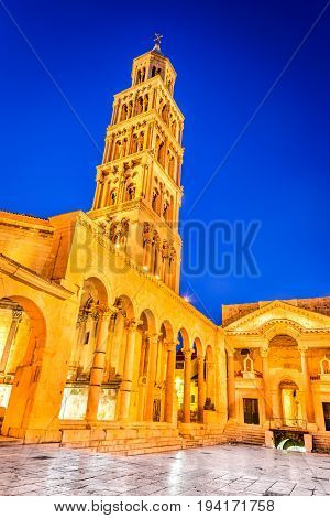 Split Croatia. The tower of Cathedral Saint Domnius and the ancient peristyle twilight