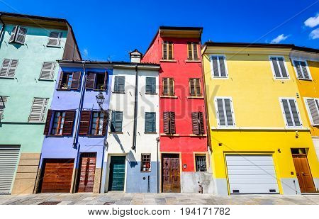 Parma Italy - Colored house in medieval downtown of this Emilia-Romagna city